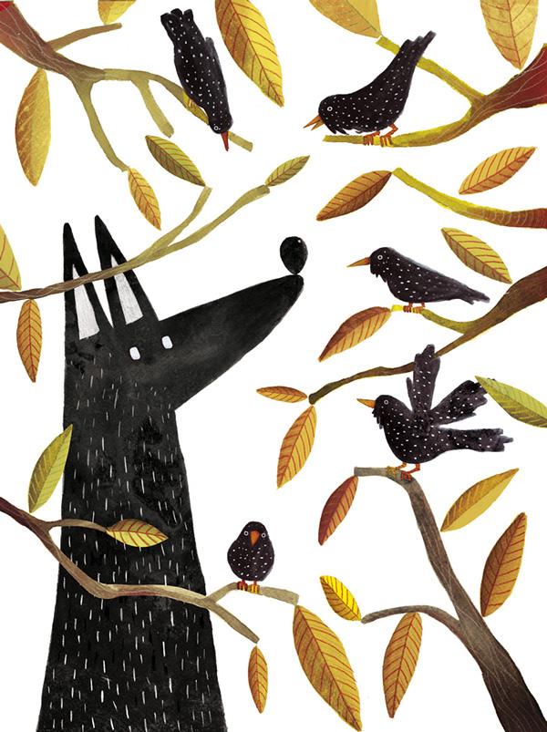 Carmen Saldana ,来自西班牙的自由插画师。擅长画各种呆萌的小动物。作品色彩丰富,充满了可爱蠢萌的即视感。在他的画笔下,小动物们都不同于我们平素看到的那样:一向乖巧的兔子可能是吸血鬼;狡猾的狐狸可以很温柔的和小鸟交谈;凶猛的狼可能很孤单很软弱,以至于只能自己一个人在森林里一片一片数叶子  愤怒的喵星人(我猜你是抹茶味儿的吧~(*)o)  酷酷的小红猫(不是小红帽啦!)    我是一匹狼,来自北方,我很孤独  优雅的狐狸先森  呆萌的干脆面(照相了,注意看镜头啊喂!)